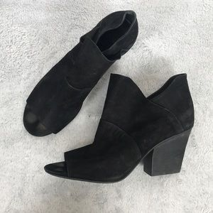Vince Camuto open toe suede leather bootie
